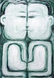 the naive kiss new contemporary naive raw art man and woman portrait painting monotone