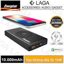 Pin sạc dự phòng Energizer 10000mAh Quick Charge 3.0 tích hợp sạc không dây  Qi 10W - QE10000CQ - Hãng phân phối chính thức