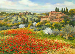 tuscan landscape tuscan landscape prints tuscan landscape paintings with poppies