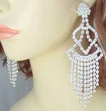 je 160 long crystal chandelier earrings made with swarovski rhinestones