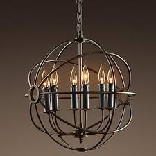 rh lighting restoration hardware vintage pendant lamp foucault s iron orb chandelier rustic iron rh loft light globe style 50cm 65cm 80cm retro pendant