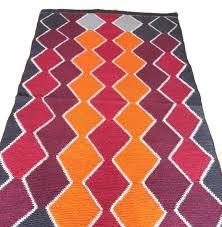 wool kilim rug area claret red zigzag orange