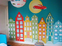 Kinderkamer Behang Jongenskamer Huisjes Amsterdam En Auto