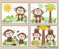 monkey baby boy nursery prints wall art decor safari jungle animal kids room