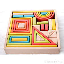 wooden building blocks toys rainbow color with window and arch bridge shapes very good quality kids educational toys wooden building bricks blocks toys kids
