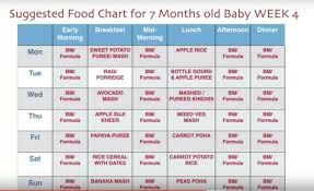 What To Feed 6 Month Old Baby Chart 7 Month Baby Food Chart Weekly Meal Plan For 7 Months Baby