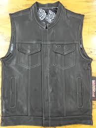 mens leather club vest black paisley