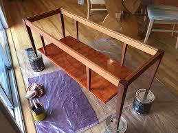 applying minwax smoke stain diy mid century coffee table