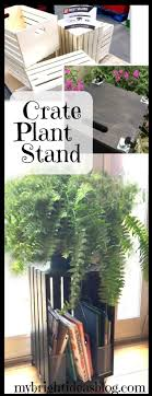 take a basic plain wooden crate and turn it into a side table or plant stand
