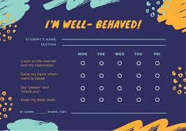 Violet Paint Strokes Behavior Preschool Reward Chart