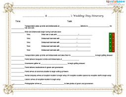 wedding day itinery template for a wedding day itinerary