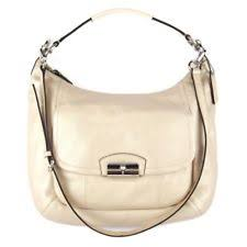 As new Coach Kristin Hobo Cream Womens Soft Leather Shoulder Bag Handbag
