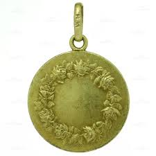 l tricard antique mary magdalene 18k yellow gold religious medallion pendant