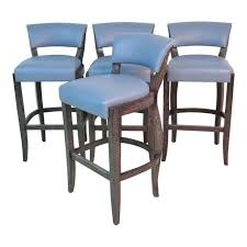 Michael Berman Blue Leather Bar Stools  Set Of 4 Blue Leather Bar Stools74