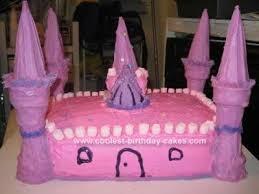 Cool Homemade Pink Castle Birthday Cake Design With Ice Cream Cones