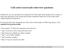 Resume For Team Leader In Bpo Call Center Team Leader Interview Questions