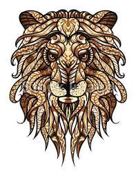 Vektorová Grafika Vzorované Hlava Lva Africké Indická Totem