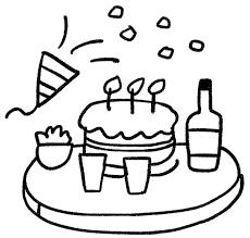 パーティのイラストケーキとワインとクラッカー ゆるかわいい無料