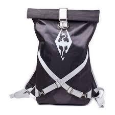 the elder scrolls skyrim logo rolltop backpack with straps black grey bp104101sky