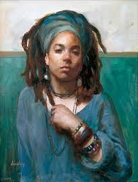 artist max ginsburgh contemporary figurative art african american black woman dreadlocks female face