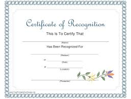 Certificate Of Recognition Template Download Printable Pdf
