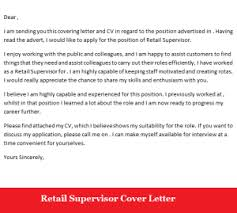 Gallery Of Retail Supervisor Job Application Cover Letter Sample