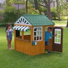 backyard wooden playhouse kids outdoor yard fun play house children garden toys
