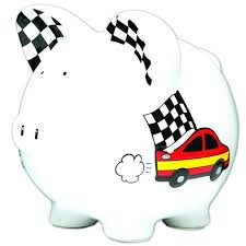 personalized large race car checd flags piggy bank baby shower christening gift centerpiece by on coin