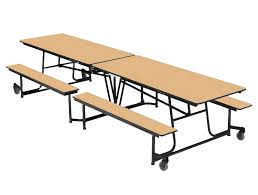 amtab black frame bench style rectangular cafeteria tables