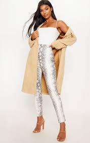 white snakeskin faux leather skinny pants image 1