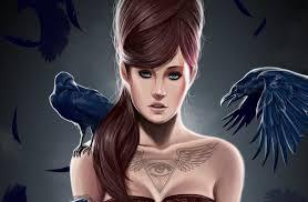 арт девушка прическа птицы ворон тату треугольник глаз крылья перья