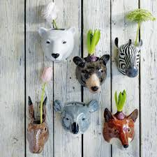ceramic animal wall vases  quirky finds  graham  green