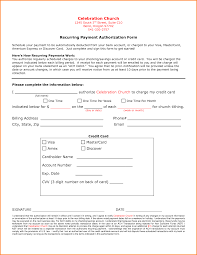 Recurring Credit Card Authorization Form Template Credit Card ...