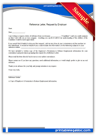 Free Printable Reference Letter Request By Employer Form Generic