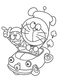 Doraemon In Car Coloring Pages For Kids Printable Free Doraemon