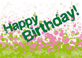 happy birthday pink and green happy birthday greetings card with green and pink bubbles on