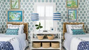 decorating with white furniture. Plain White Layers Of Serene Shades Blueu2014on The Medallionprinted Wallpaper Drum  Throughout Decorating With White Furniture