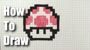How To Draw A 8 Bit Mario Mushroom Youtube