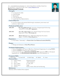 Latest Resume Format For Experienced Mechanical Engineer Latest