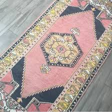 6 6 x 3 2 vintage turkish rug pink and navy blue turkish oushak runner rug