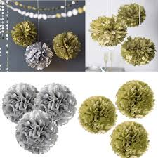 Hanging Pom Pom Decorations Aliexpresscom Buy 10pcs Set 6810 Metallic Gold Silver Tissue