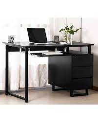 Merax Modern Simple Design Computer Desk Table Workstation with Cabinet and  Drawers for Home & Office