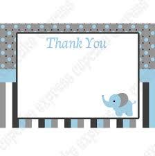 Baby Boy Thank You Cards Baby Boy Elephant Printable Thank You Card