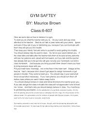 essay gym gym saftey by maurice brown class 6 607here
