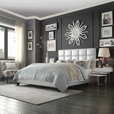Metallic Bedroom Furniture Oxford Creek Harper Panel Upholstered King Bed In Metallic Silver