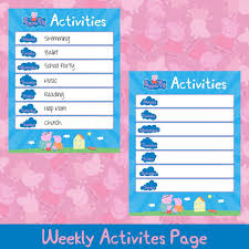 Peppa Pig Activities Chart Peppa Pig Activities Page Activities Page Printable Kids Planner Kids Planner Activities Weekly Chart