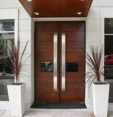 Double Modern Wood Front Doors Double And Single With A Side - Doors design for home