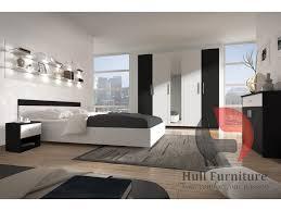 alex 5pcs low bedroom furniture set black white
