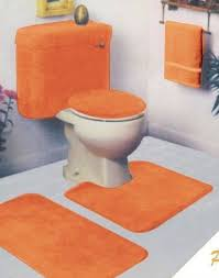 orange 5 piece bathroom rug sets for striking look