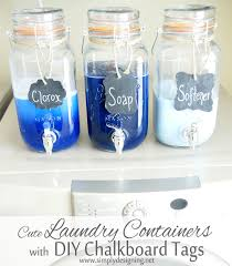 i am thrilled to show how to make a mason jar laundry soap dispenser with diy chalkboard tags